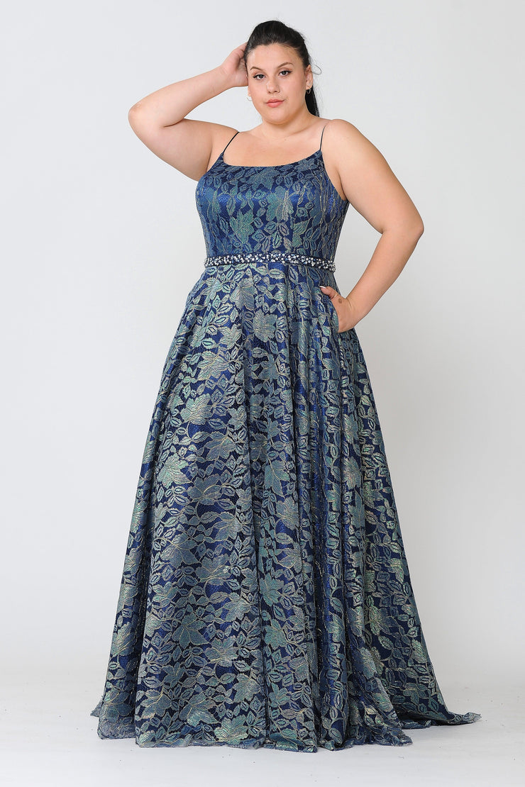Plus Size Long Iridescent Floral Print Dress by Poly USA W1088-Long Formal Dresses-ABC Fashion