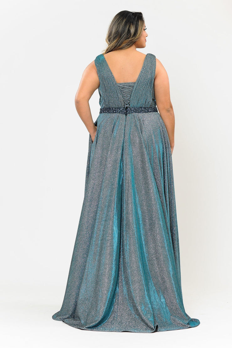 Plus Size Long Iridescent Glitter Dress by Poly USA W1082