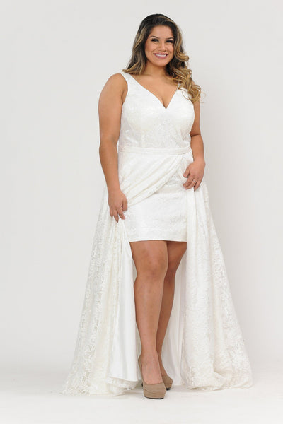 Plus Size Long Lace Dress with Corset Back by Poly USA W1020