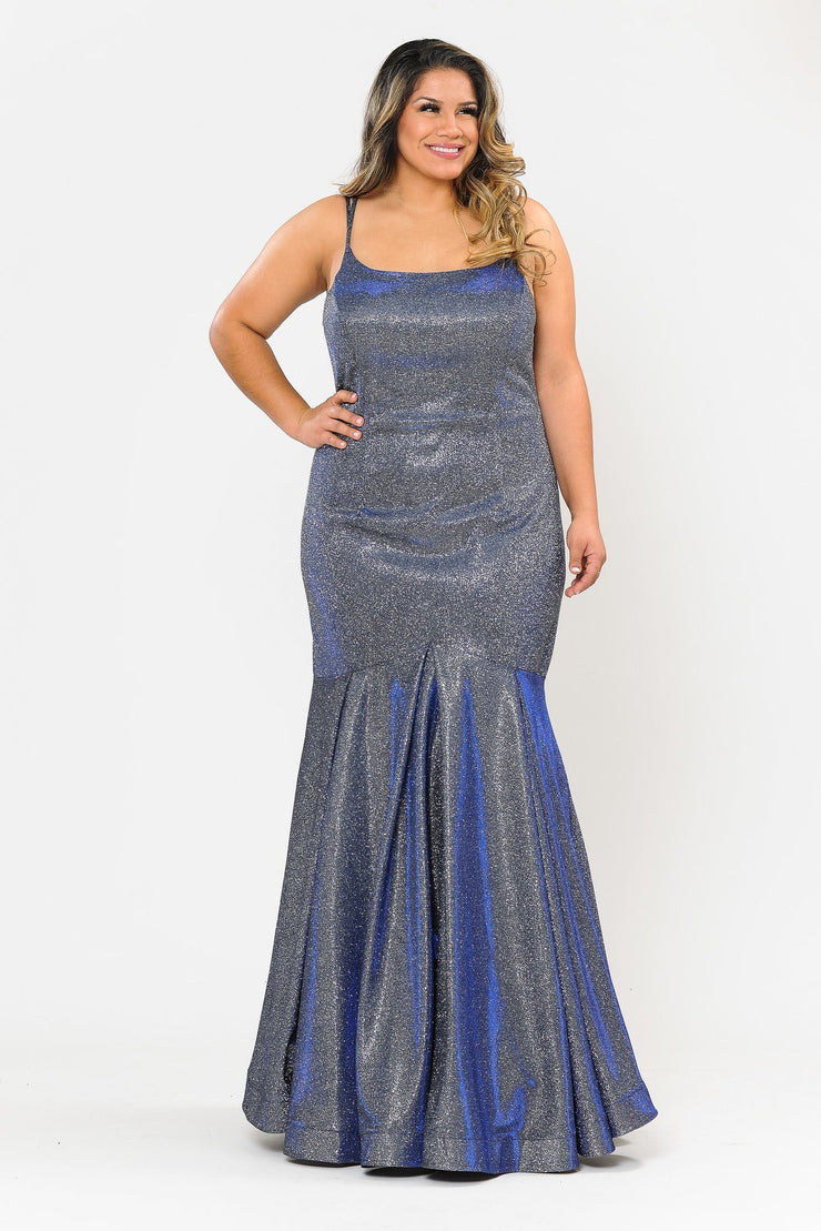 Plus Size Long Metallic Glitter Fitted Dress by Poly USA W1102