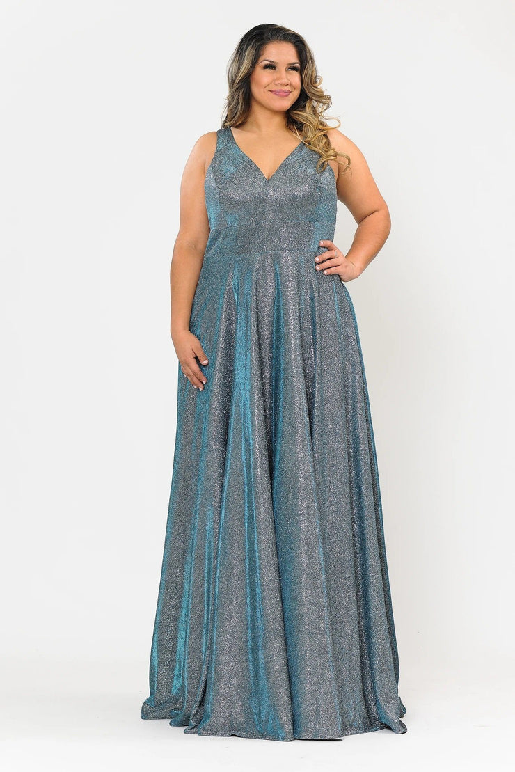 Plus Size Long Metallic Glitter V-Neck Dress by Poly USA W1036
