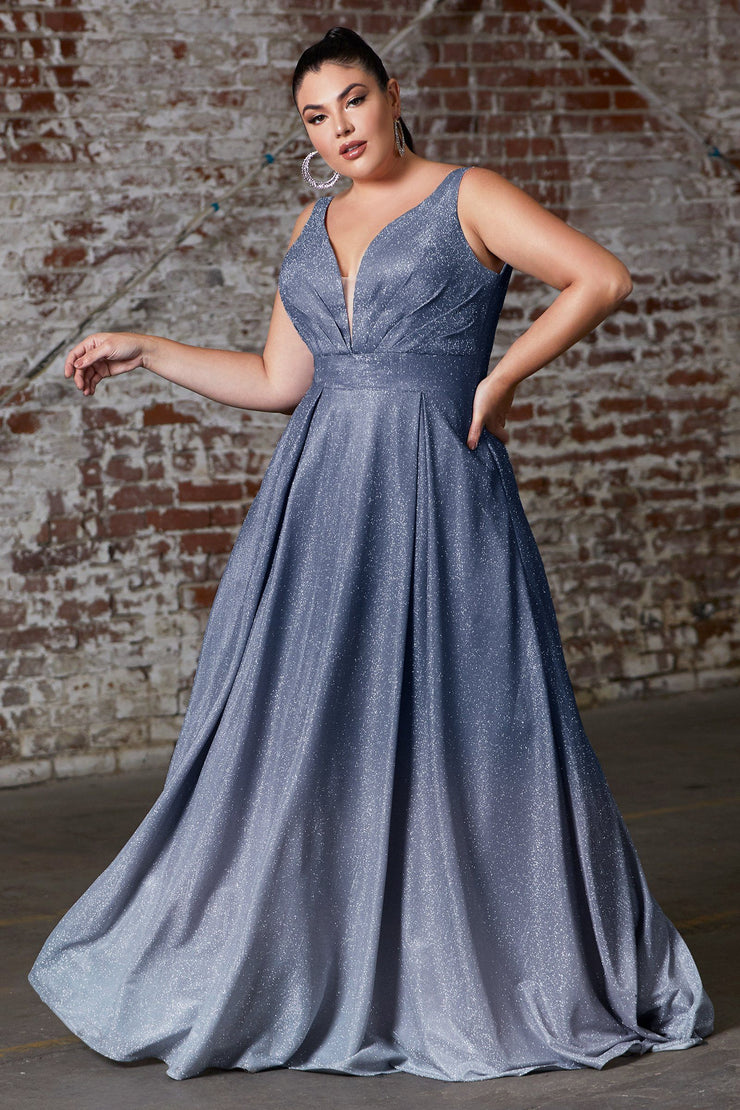 Plus Size Long Metallic Ombre Dress by Cinderella Divine 9174C