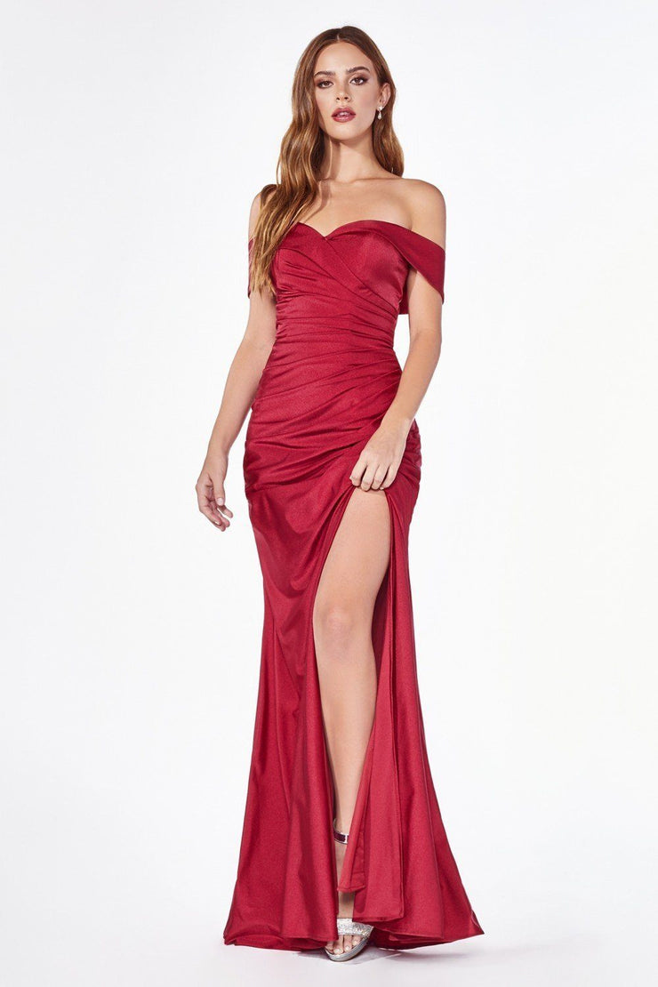 Long Off Shoulder Fitted Dress with Slit by Cinderella Divine KV1050-Long Formal Dresses-ABC Fashion