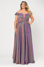 Plus Size Long Off Shoulder Glitter Dress by Poly USA W1060-Long Formal Dresses-ABC Fashion