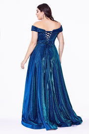 Plus Size Long Off Shoulder Metallic Dress by Cinderella Divine CD210C