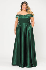 Plus Size Long Off Shoulder Satin Dress by Poly USA W1058