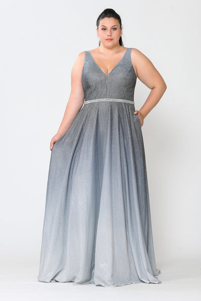 Plus Size Long Ombre Glitter Dress by Poly USA W1100
