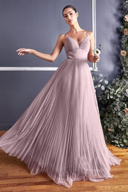 Plus Size Long Pleated Tulle Dress by Cinderella Divine CD184