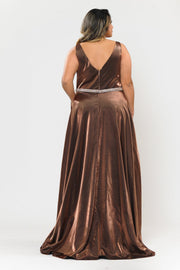 Plus Size Long Satin Deep V-Neck Dress by Poly USA W1062