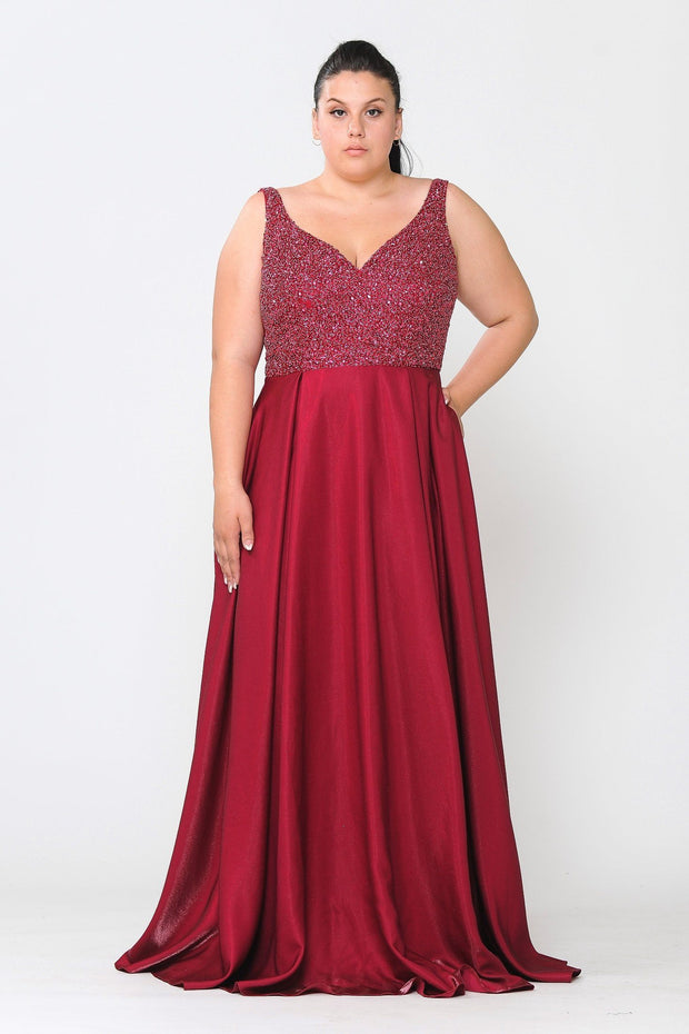 Plus Size Long Satin Dress with Beaded Bodice by Poly USA W1066
