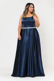 Plus Size Long Satin Dress with Beaded Waist by Poly USA W1010-Long Formal Dresses-ABC Fashion