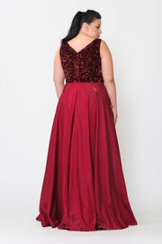 Plus Size Long Sequin Bodice Satin Dress by Poly USA W1006-Long Formal Dresses-ABC Fashion