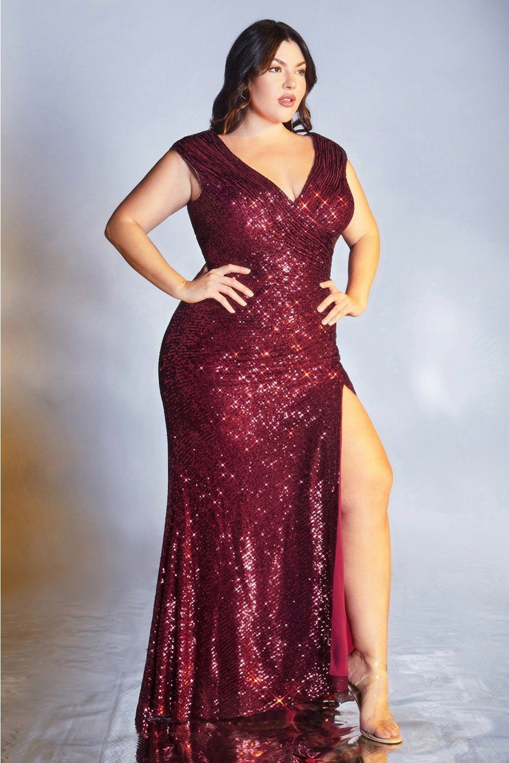 Plus Size Long Sequin Cap Sleeve Dress by Cinderella Divine CH198C