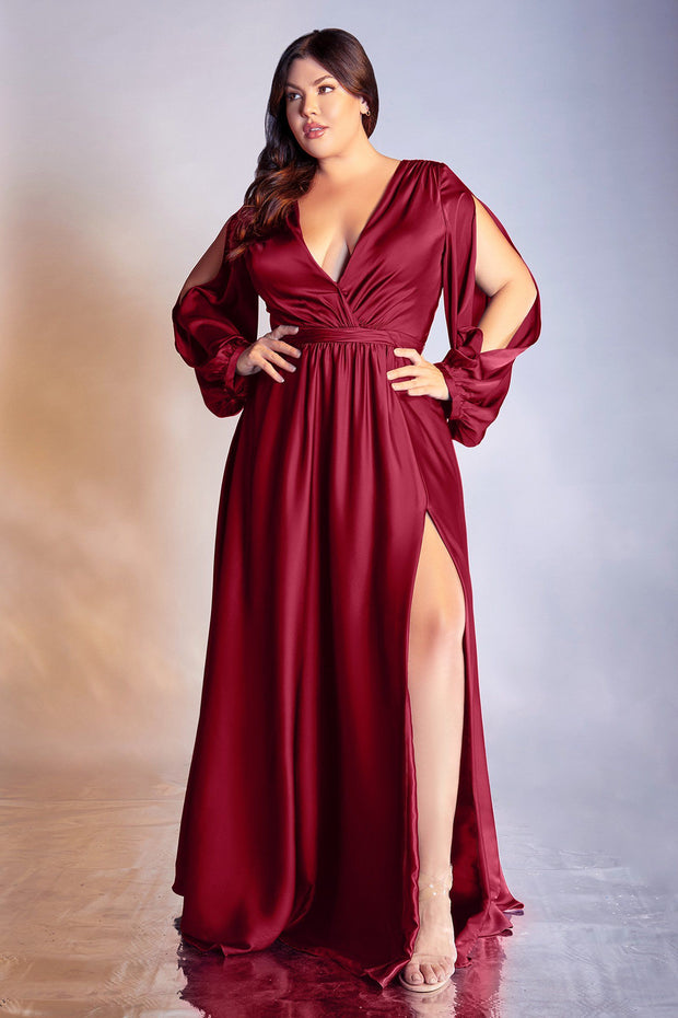 Plus Size Long Sleeve Satin Gown by Cinderella Divine 7475C