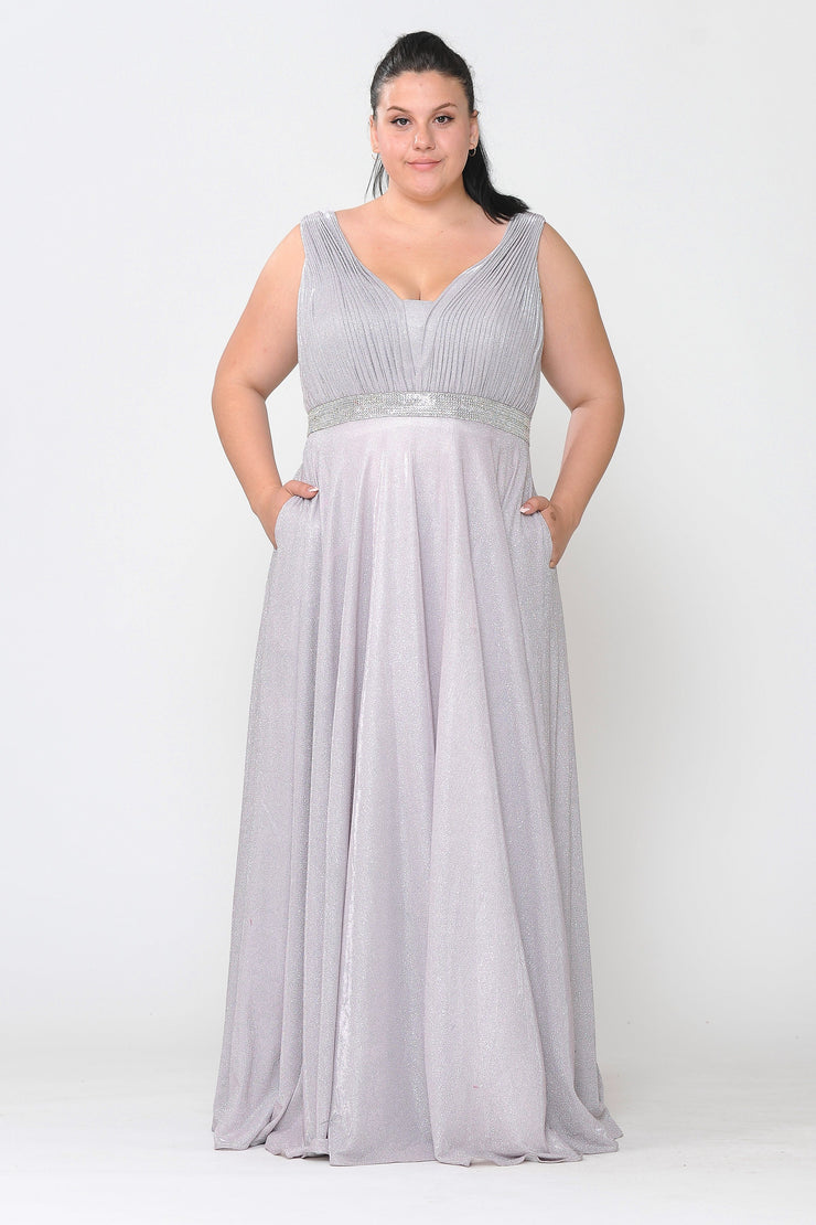 Plus Size Long Sleeveless A-line Glitter Dress by Poly USA W1082-Long Formal Dresses-ABC Fashion