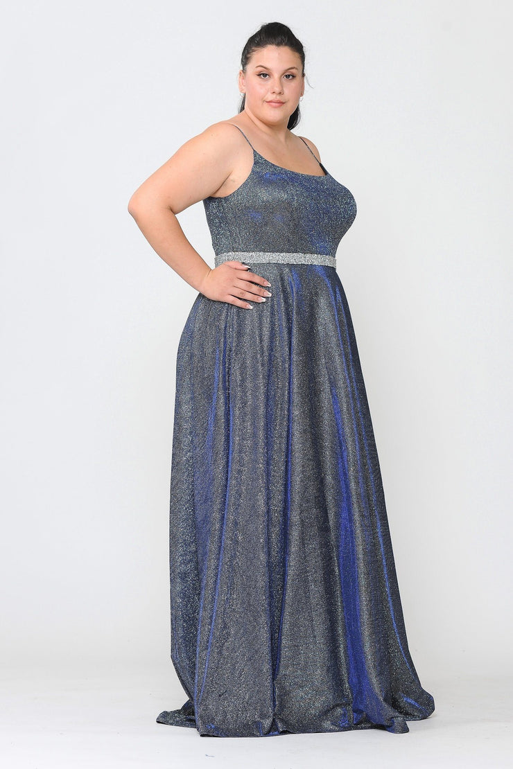 Plus Size Long Square Neck Glitter Dress by Poly USA W1038