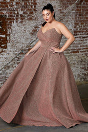 Plus Size Long Strapless Glitter Dress by Cinderella Divine CB045C