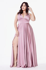 Plus Size Long V-Neck Dress with Leg Slit by Cinderella Divine 7469