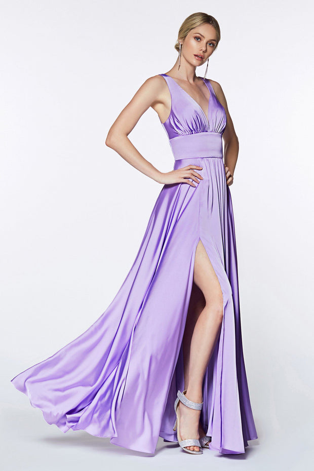 Long Satin V-Neck Dress with Leg Slit by Cinderella Divine 7469-Long Formal Dresses-ABC Fashion