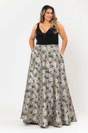 Plus Size Long V-Neck Dress with Print Skirt by Poly USA W1012