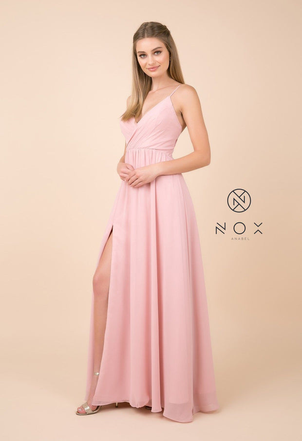 Plus Size Long V-Neck Dress with Slit by Nox Anabel R275P-Long Formal Dresses-ABC Fashion