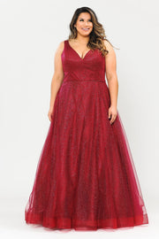 Plus Size Long V-Neck Glitter Dress by Poly USA W1024