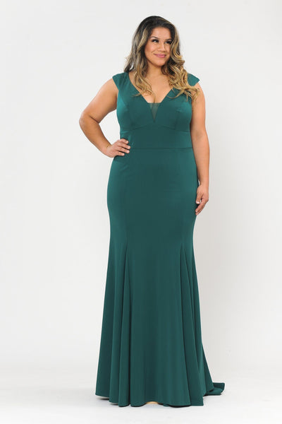 Plus Size Long V-Neck Jersey Fitted Dress by Poly USA W1022-Long Formal Dresses-ABC Fashion