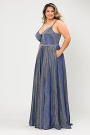 Plus Size Long V-Neck Metallic Glitter Dress by Poly USA W1048