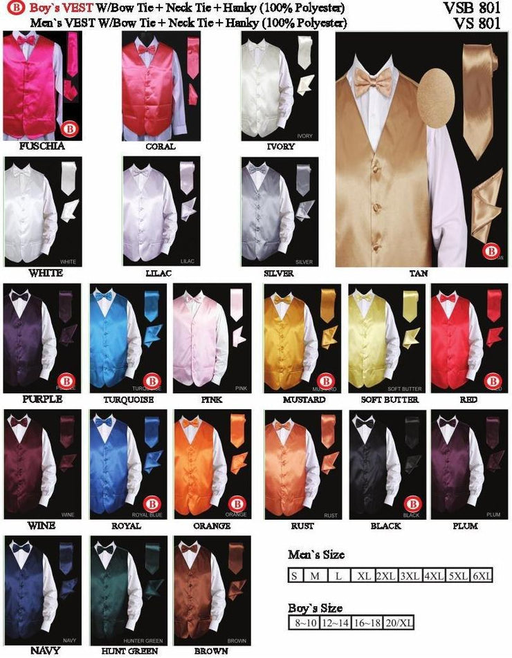 Plus Size Men's Satin Vest with Tie, Bow Tie, and Pocket Square-Men's Vests-ABC Fashion