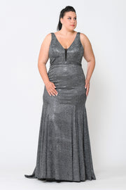 Plus Size Metallic Glitter Mermaid Dress by Poly USA W1086-Long Formal Dresses-ABC Fashion