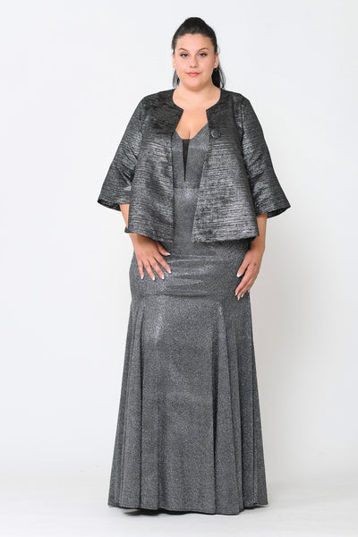 Plus Size Metallic Single Button Jacket by Poly USA JK1922-Long Formal Dresses-ABC Fashion