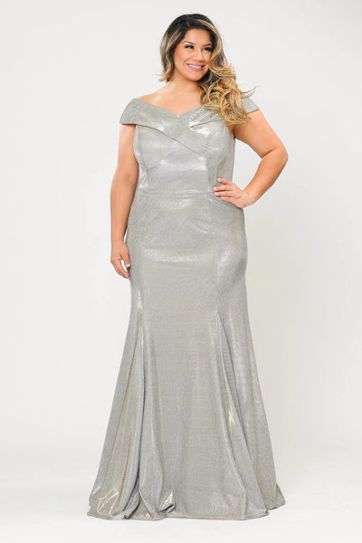 Plus Size Off Shoulder Glitter Mermaid Dress by Poly USA W1042