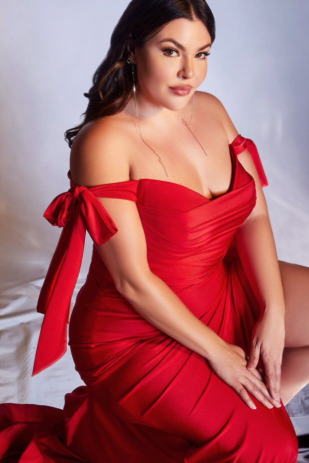 Plus Size Off Shoulder Gown by Cinderella Divine CD943C