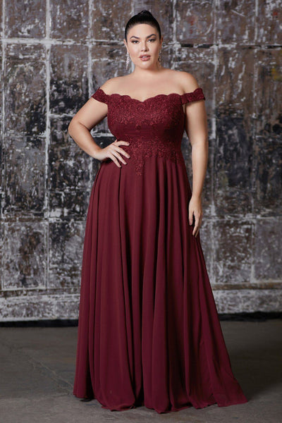 Plus Size Off Shoulder Gown with Lace Bodice by Cinderella Divine 7258