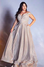 Plus Size Off Shoulder Metallic Gown by Cinderella Divine CD210C
