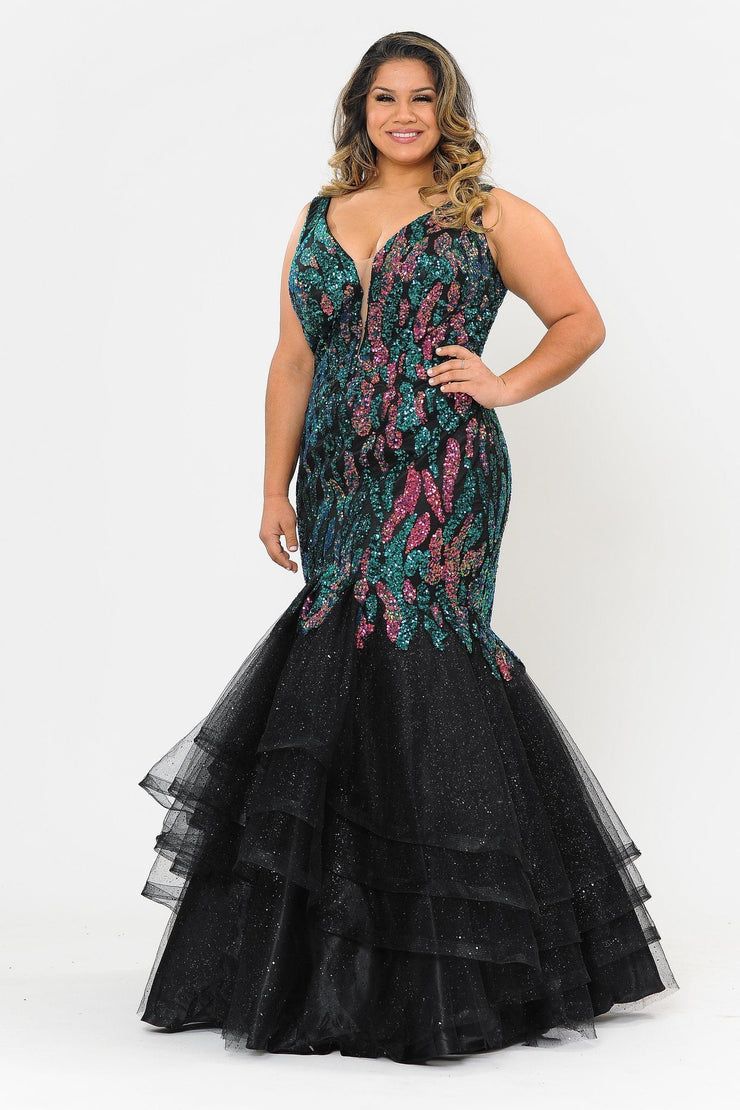 Plus Size Tiered Sequin Mermaid Dress by Poly USA W1072