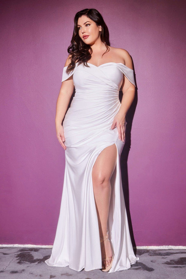 Plus Size White Off Shoulder Gown by Cinderella Divine CD930C