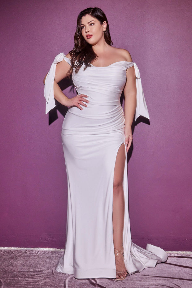 Plus Size White Off Shoulder Gown by Cinderella Divine CD944WC