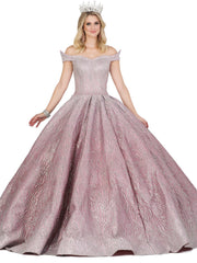 Pointed Off Shoulder Glitter Ball Gown by Dancing Queen 1427