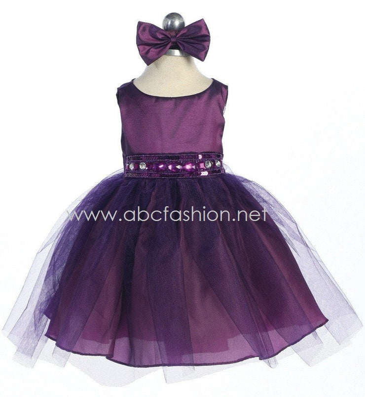 Purple Baby Girl Dress with Tulle Skirt - 10 Colors-Girls Formal Dresses-ABC Fashion