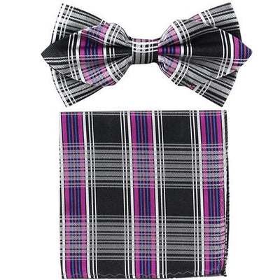 Purple Plaid Bow Tie with Pocket Square (Pointed Tip)-Men's Bow Ties-ABC Fashion