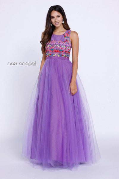 Purple Sleeveless Dress with Floral Embroidery by Nox Anabel 8263-Long Formal Dresses-ABC Fashion