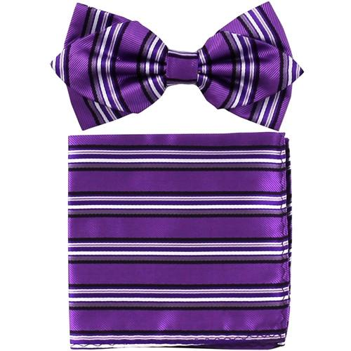 Purple Striped Bow Tie with Pocket Square (Pointed Tip)-Men's Bow Ties-ABC Fashion