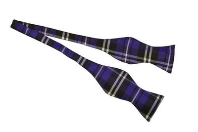 Purple/Black Self Tie Plaid Bow Ties-Men's Bow Ties-ABC Fashion