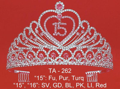 Quinceanera Heart Tiara - Sweet 15/16 Heart Tiara-Quinceanera Tiaras-ABC Fashion