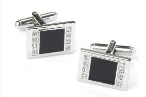 Rectangle Silver Cufflinks with Black Slate and Crystals-Men's Cufflinks-ABC Fashion