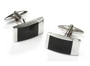 Rectangle Silver Cufflinks with Black Slate-Men's Cufflinks-ABC Fashion