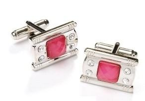 Rectangle Silver Cufflinks with Pink Stone and Crystals-Men's Cufflinks-ABC Fashion