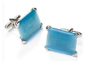 Rectangle Silver Cufflinks with Turquoise Stone-Men's Cufflinks-ABC Fashion
