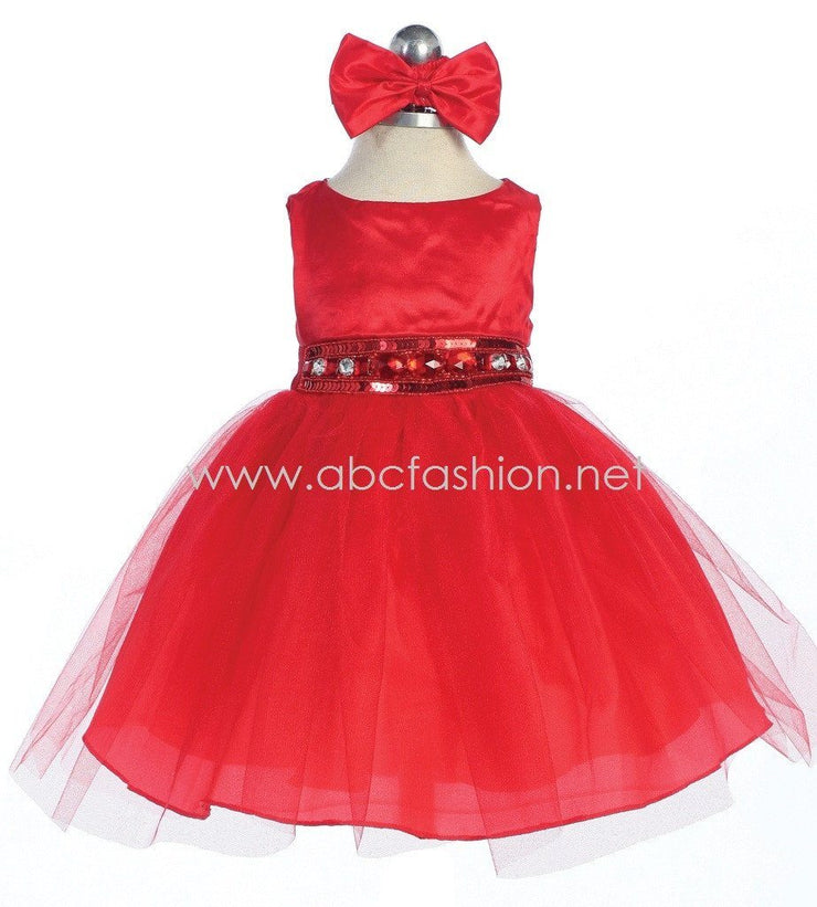 Red Baby Girl Dress with Tulle Skirt - 10 Colors-Girls Formal Dresses-ABC Fashion